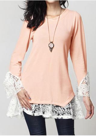 Lace Floral Splicing Blouse without Necklace