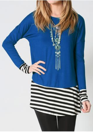 Striped Splicing Blouse without Necklace