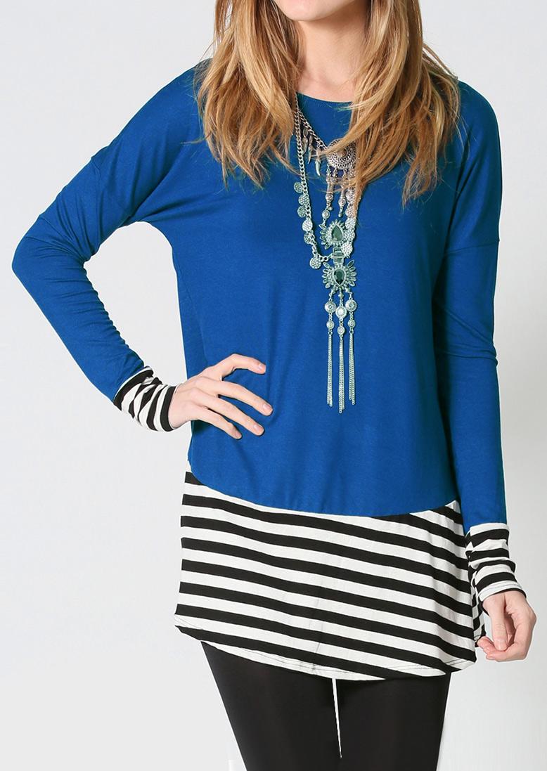 Bluză de damă, lungă, elegantă, fashion, cu dungi de contrast