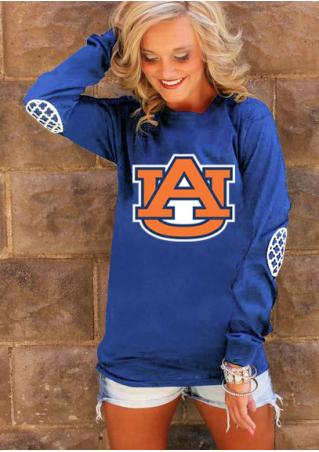 Auburn Tiger Elbow Patch Printed T-Shirt