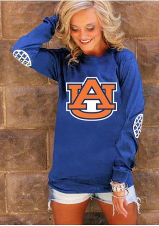 Auburn Tiger Elbow Patch Printed T-Shirt
