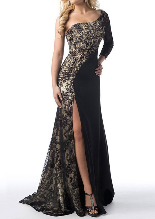 Rochie de seară, elegantă, din poliester, cu inserții din dantelă