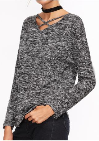 Cross Back Hollow Out Batwing Sleeve T-Shirt without Necklace