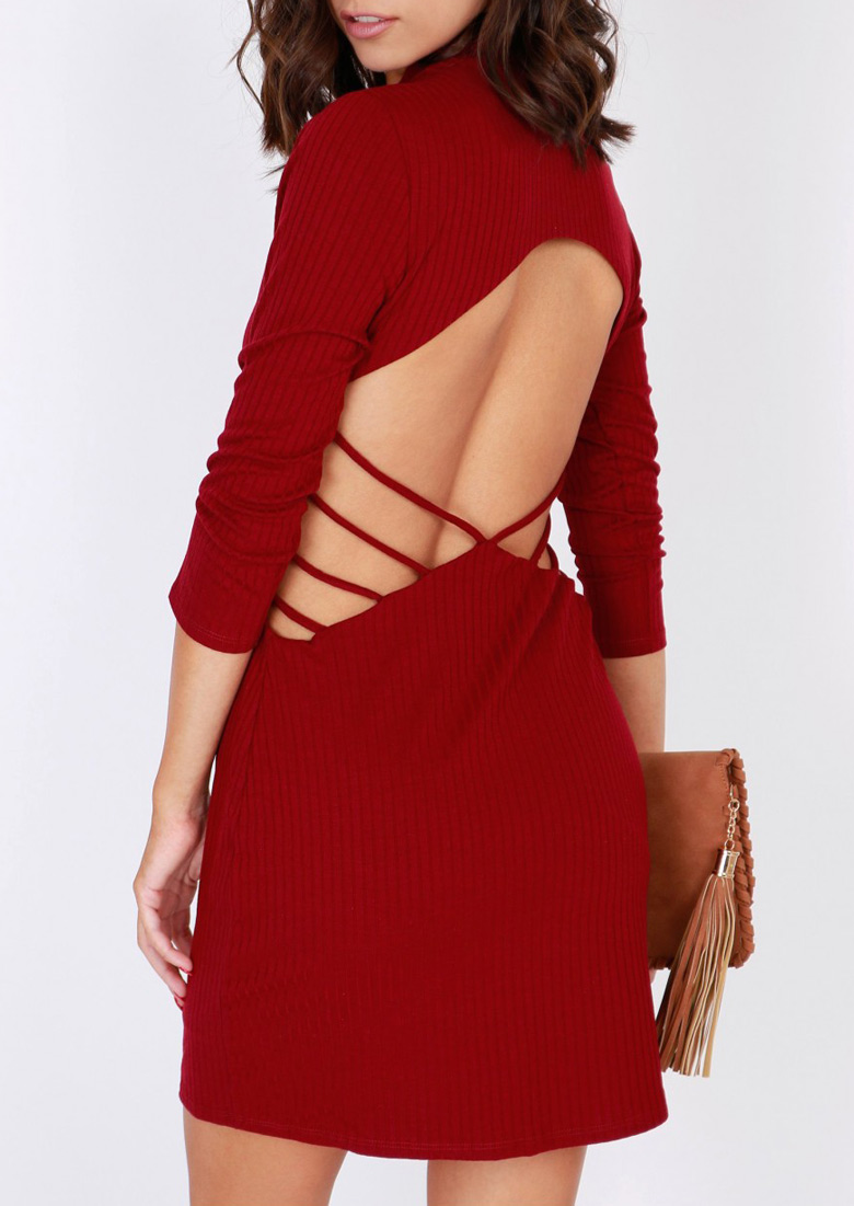 Solid Hollow out Knitted Bodycon Dress 26082