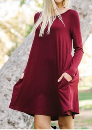 Solid Pocket Swing Mini Dress