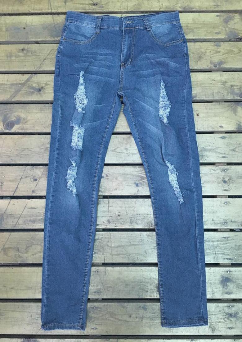 Jeanși de damă, fashion, din bumbac, cu zone distruse intenționat