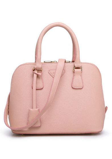 Solid Zipper Handbag