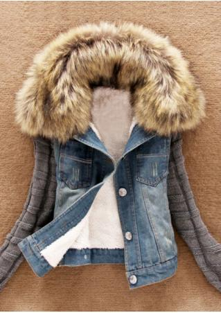 Denim Button Knitted Sleeve Jacket with Fur Collar