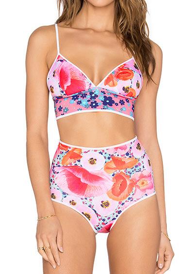 Set bikini, fashion, elastic, slim fit, cu imprimeu floral