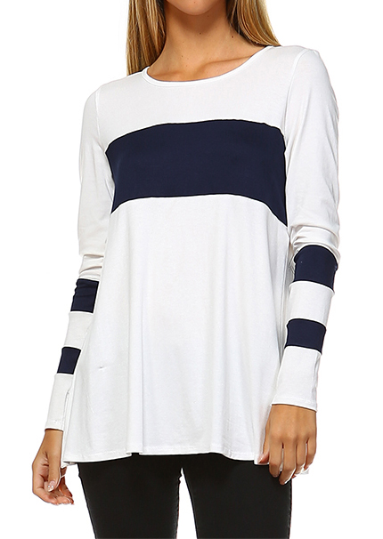 Bluză de damă, elegantă, casual, din poliester, cu dungi imprimate