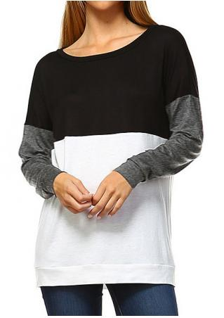 Color Block Batwing Sleeve Blouse Color
