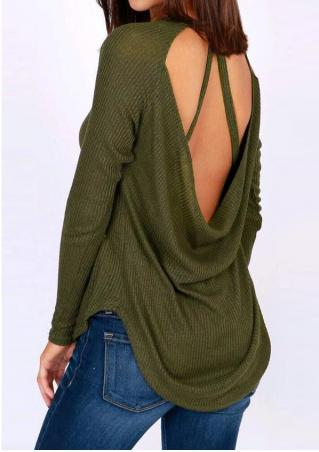 Solid Backless Asymmetric Blouse