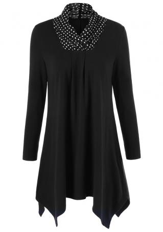 Polka Dot Ruffled Asymmetric Blouse