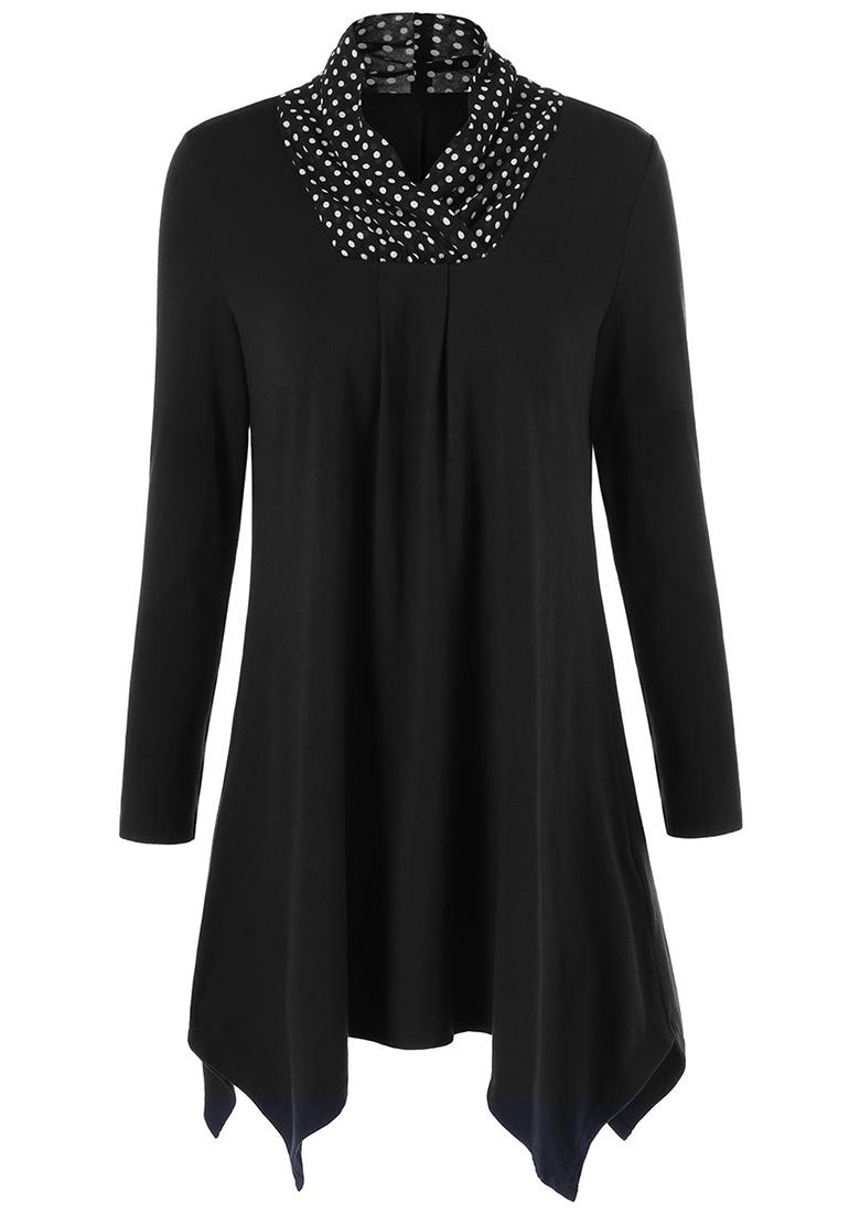 Bluză de damă, elegantă, asimetrică, plisată, cu mâneci lungi