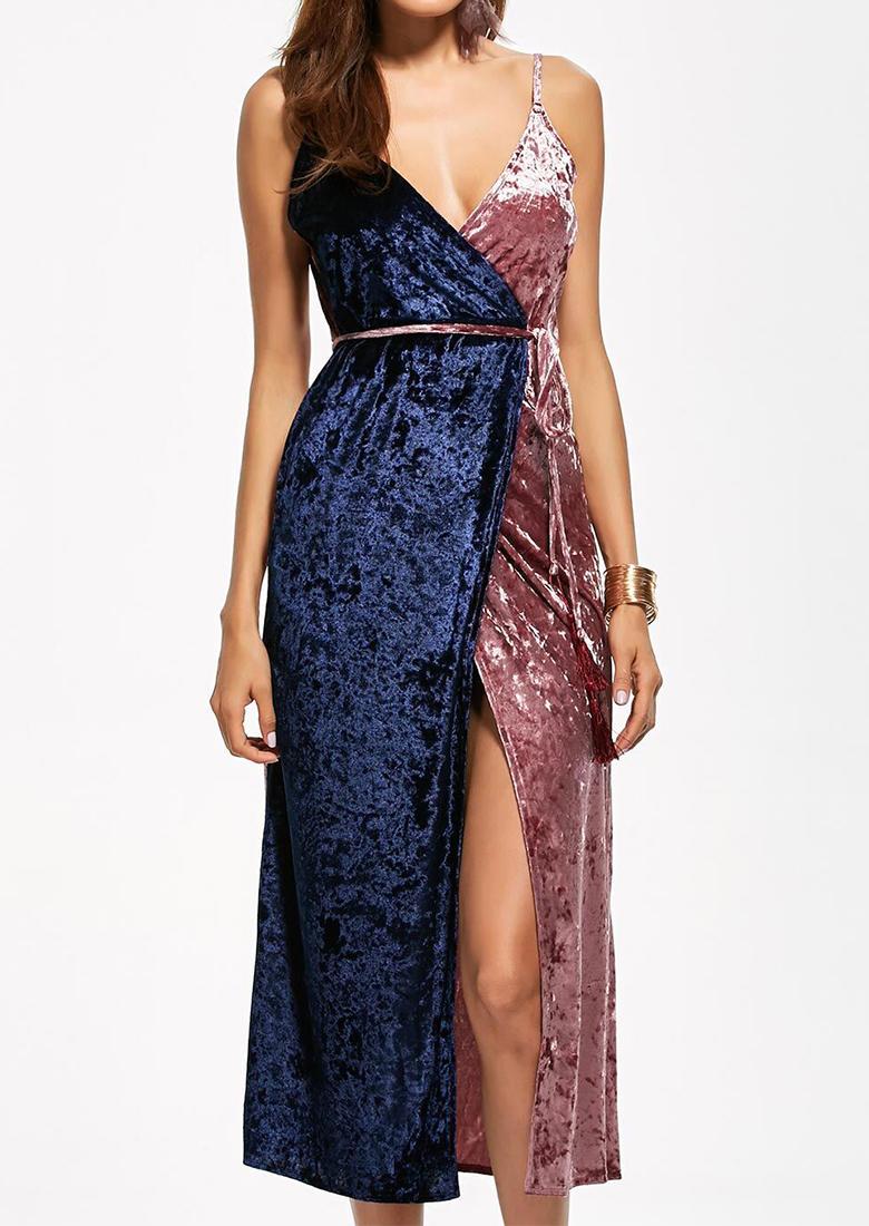 Rochie lungă, elegantă, din mătase, fără mâneci, cu bretele subțiri