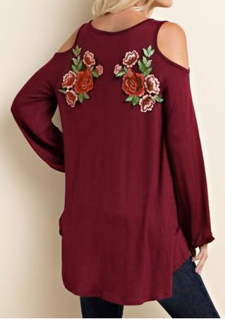 Asymmetric Embroidery Hollow out Blouse