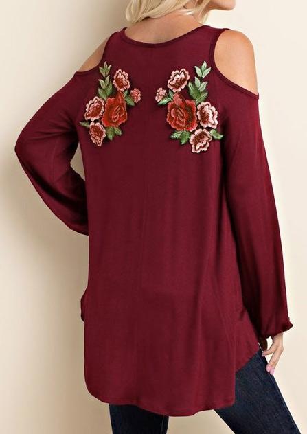 Bluză de damă, asimetrică, fashion, cu flori aplicate
