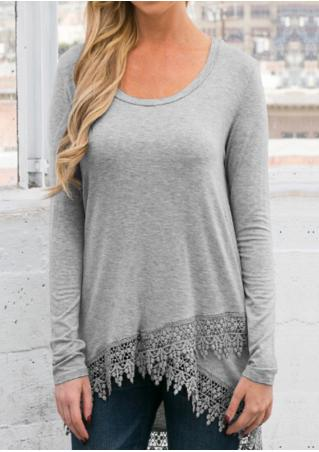 Solid Lace Layered Asymmetric Blouse Solid