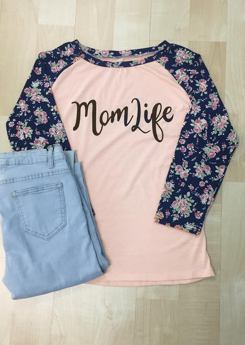 mom life floral sleeve baseball t-shirt