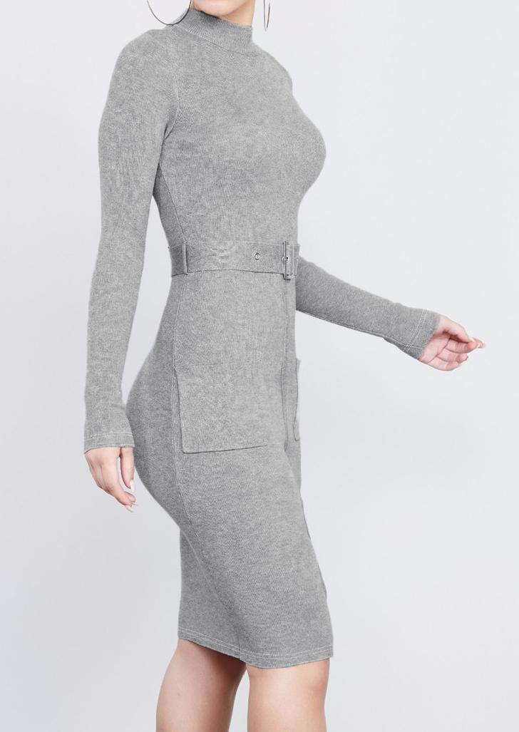 Rochie midi, mulată, fashion, cu mâneci lungi, buzunare frontale și fermoar la spate