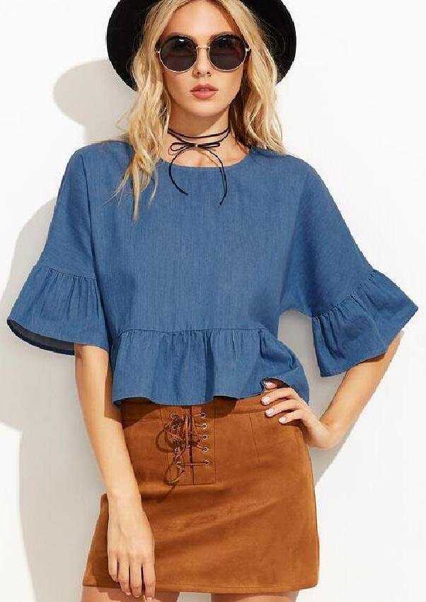 Bluză de damă, fashion, slim fit, cu mâneci scurte evazate