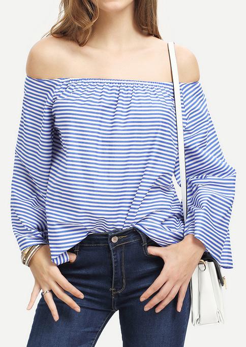 Bluză de damă, fashion, cu mâneci lungi evazate și umerii goi