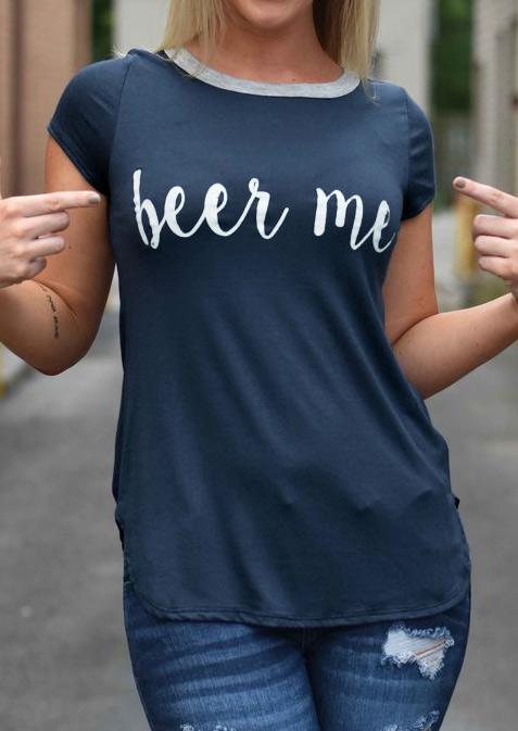 Tricou de damă, casual, din poliester, cu mâneci scurte și imprimeu grafic