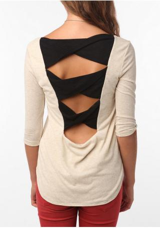 Mesh Splicing Hollow out Blouse