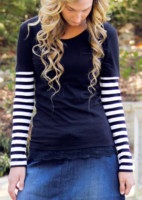 Bluză de damă, fashion, din poliester, cu mâneci lungi, tiv asimetric și inserții dantelă