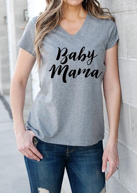 Tricou de damă, casual, cu imprimeu grafic, mâneci scurte și guler în V