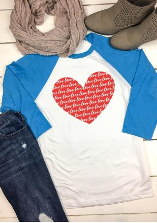 Love Heart Baseball T-Shirt