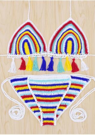 Tassel Splicing Knitted Bikini Set Tassel