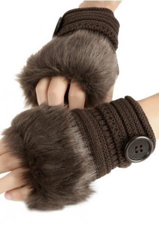 Button Kinitted Fingerless Gloves Button