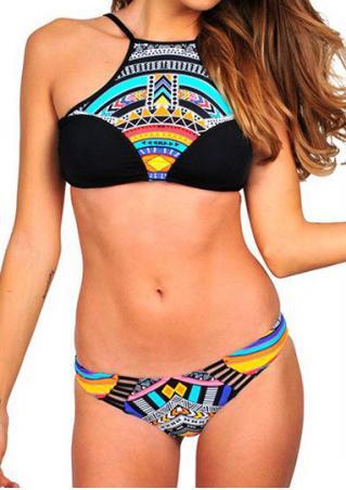 Geometric Splicing Bikini Set Geometric