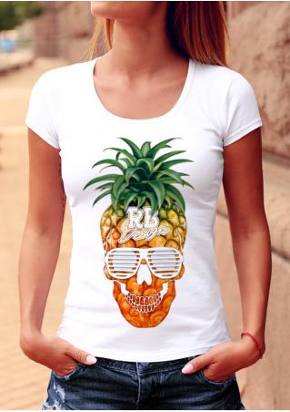 Pineapple Skull Slim Stretchy T-Shirt