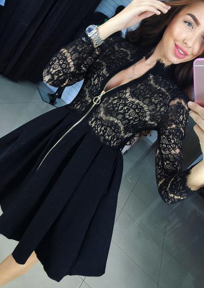 Rochie scurtă, fashion, plisată, din poliester, cu inserții din dantelă și fermoar frontal