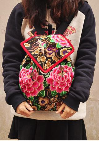 Embroidery Peony Backpack Embroidery