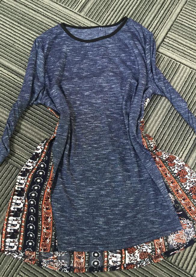 Bluză de damă, fashion, asimetrică, cu imprimeu și mâneci lungi