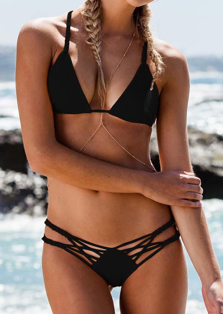 bikini strappy triangle solid fairyseason