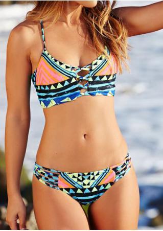 Geometric Hollow Out Halter Bikini Set