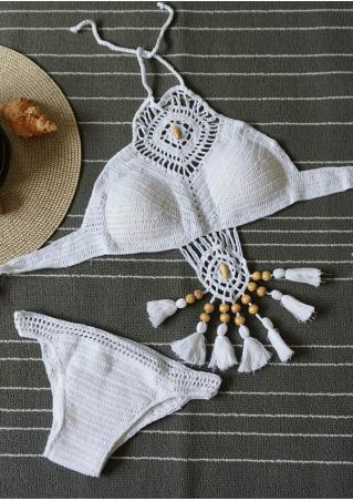Solid Tassel Splicing Hollow out Knitted Bikini Set Solid