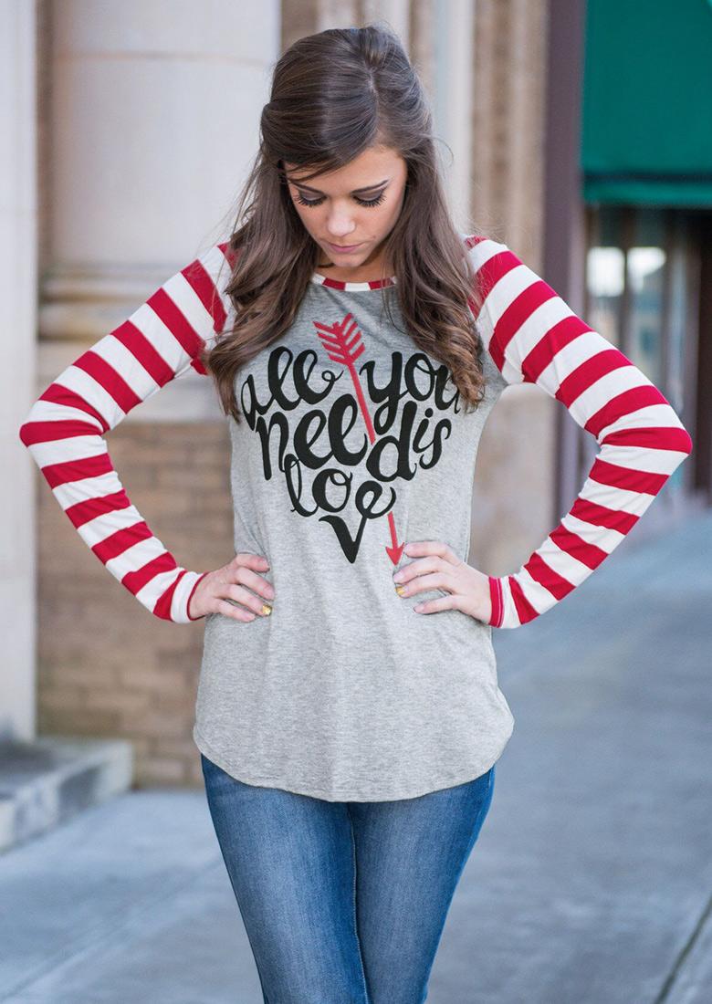 Tricou de damă, fashion, cu imprimeu frontal, mâneci lungi și dungi de contrast
