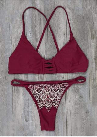 Lace Splicing Criss-Cross Sexy Bikini Set Lace