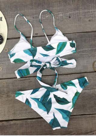 Leaves Wrap Bikini Set Leaves
