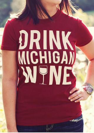 Drink Michigan Wine Wineglass T-Shirt