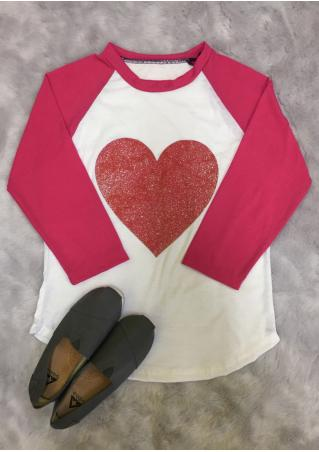 Glitter Red Heart Baseball T-Shirt