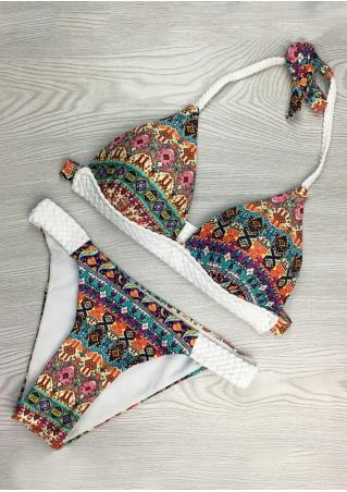 Ethnic Halter Knitted Bikini Set