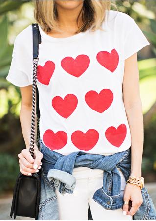 Red Hearts Short Sleeve T-Shirt