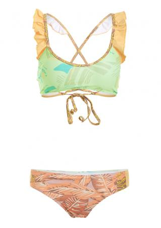Ruffled Leaves Tie Bikini Set Ruffled