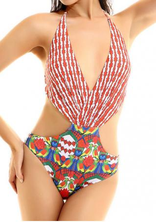 Printed Halter Open Back Swimsuit